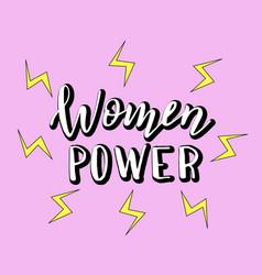 women power handwritten slogan with cartoon vector image