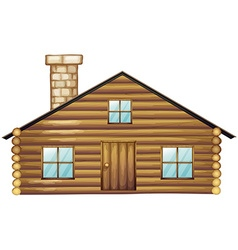 Wooden house with chimney vector image vector image