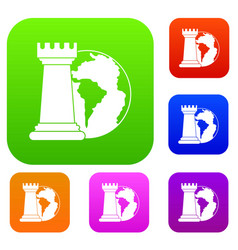 world planet and chess rook set color collection vector image