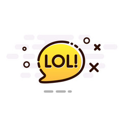 Yellow gradient speech bubble with lol sign vector