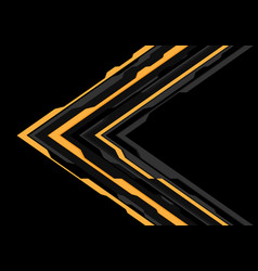 yellow grey arrow futuristic direction on black vector image