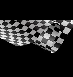 checkered flag flying wave black background race vector image vector image