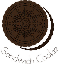 chocolate and cream sandwich cookie vector image vector image