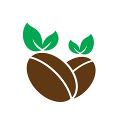 coffee leaf organic logo vector image vector image