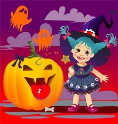 Halloween witch pumpkin vector