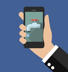Hand holding smart phone with water tap icon vector image