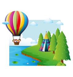 Scene with kids flying on balloon vector