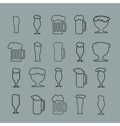 Set of twenty beer glass vector image vector image
