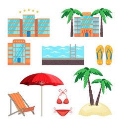 summer holidays set with five stars hotel vector image