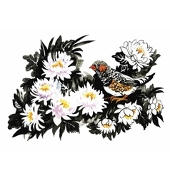 Tropical birds with flowers colorful pattern on vector image