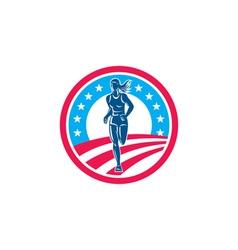 American Female Triathlete Marathon Runner Circle vector image vector image
