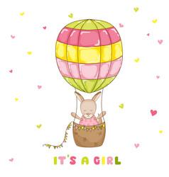 baby girl kangaroo with a balloon baby shower card vector image vector image