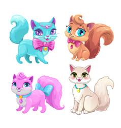 cute cartoon fluffy cats set vector image
