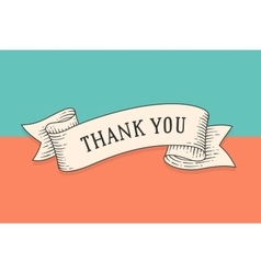 Greeting card with ribbon and phrase Thank you vector image