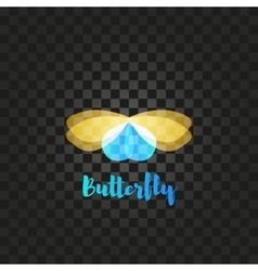 Isolated yellow and blue butterfly logo vector