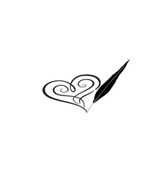 love heart red calligraphic sign drawn by feather vector image vector image