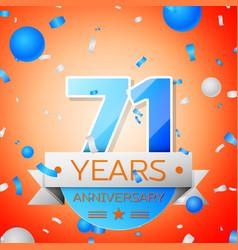 seventy one years anniversary celebration vector image vector image