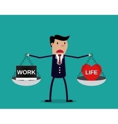 Cartoon businessman balancing Work and life vector image