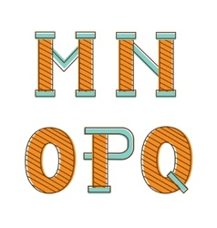 Colorful alphabet letters mno pq vector image
