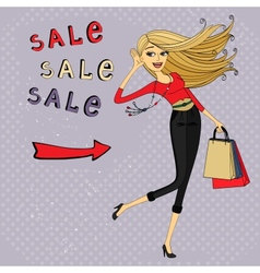 Fashion sale ad shopping girl with bags vector image