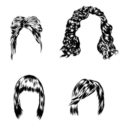 Hand drawn set of different women s hair styles vector image