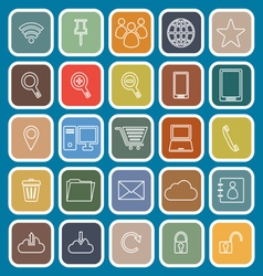 Internet line flat icons on blue background vector image vector image