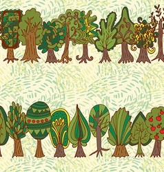 Seamless hand-drawn pattern with doodle forest vector image