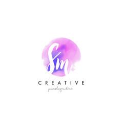 sm watercolor letter logo design with purple vector image vector image