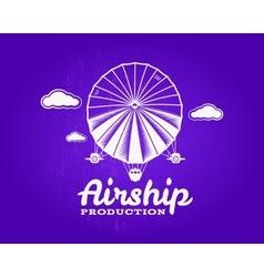Vintage airship logo Retro Dirigible balloon vector image