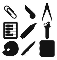 Black school goods silhouettes Part 2 vector image vector image