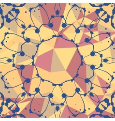 Yellow and red mosaic background and watercolor vector image vector image