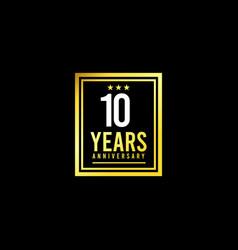10 years anniversary gold square design logo vector