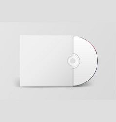 3d realistic white cd dvd with paper cover vector image