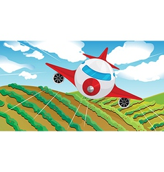 A flying airplain and beautiful landscape vector