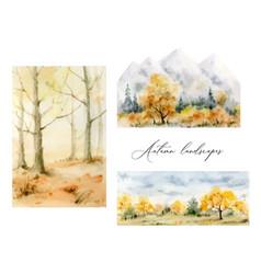 a watercolor set of autumn landscapes vector image