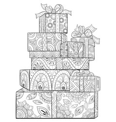 Adult coloring bookpage a set of christmas gift vector