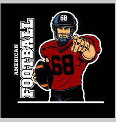 American football player in action isolated vector