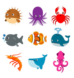 Animal ocean aquatic sea life funny cartoon vector
