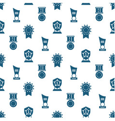 awards trophy and prizes seamless pattern vector image