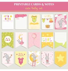 baby girl card set - for birthday shower vector image