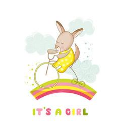 Baby shower card - baby girl kangaroo on a bike vector