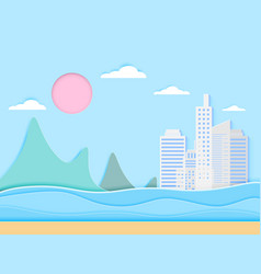 Beach and sea with paper art style vector