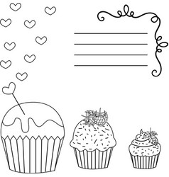 black and white greeting card cupcakes vector image