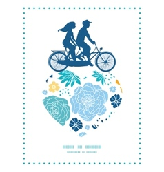blue and yellow flowersilhouettes couple on vector image