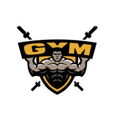 bodybuilding gym logo emblem royalty free vector image rh vectorstock com bodybuilding logos graphic design bodybuilding logos graphic design