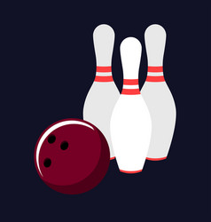 bowling set on a dark background vector image