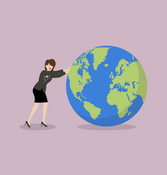 business woman pushing the world uphill vector image