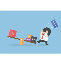 Businessman trying to balance his life vector image