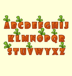cartoon carrot font vector image