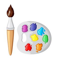 Cartoon paintbrush and palette paints vector